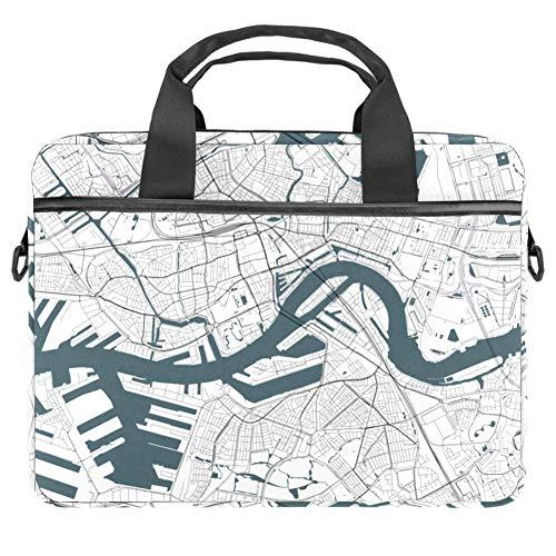 Laptop Schultertasche 38,1 cm (15 Zoll) Aktentasche Dokument Messenger Bag mit Griff & Schultergurt Live Satellite Map Weiß