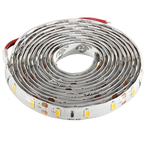 120-5630 SMD LED Strip - SODIAL(R)2M Ruban LED etanche 120-5630 SMD Bande Strip Guirlande Lumineux Decoration Voiture/Velo DC 12V (Blanc Chaud)