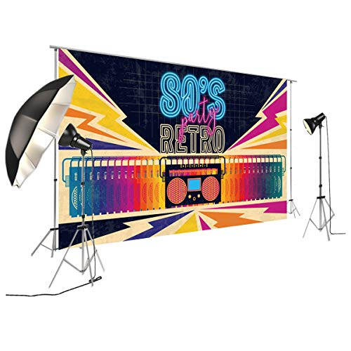 FiVan Disco Party Banner Hintergrund – blendfreie Rückseite aus Vinyl bis 80er 90er Jahre Party Dekoration Fotobooth Hintergrund, XT-7315, 79