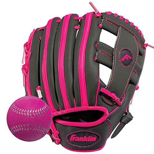 Franklin Sports RTP Teeball Performance Gloves and Ball Combo, Graphite/Pink, 9.5-Inch, Right Hand Thrower