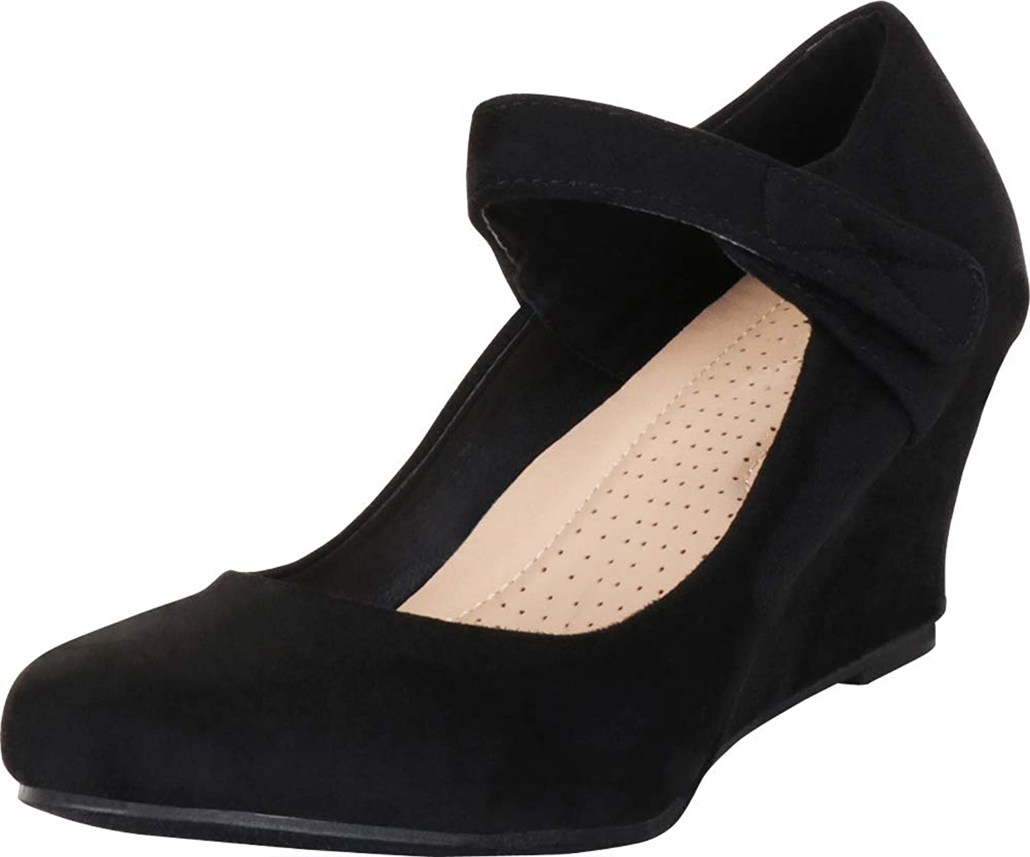 Cambridge Select Women's Round Toe Mary Jane Strap Wrapped Wedge