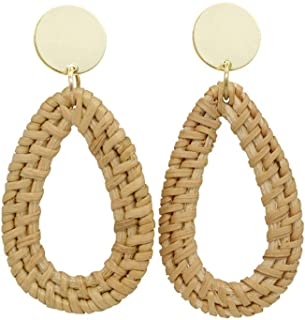 Sporzin Rattan Earrings for Women Girls Wicker Handmade Straw Weaving Braid Bohemian Drop Dangle Earrings Lightweight Boho Statement Earrings for Sensitive Ears