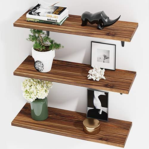 BAMFOX Floating Shelves, Rustic Wood Bamboo Wall Storage Shelves, Wall Mounted Shelf Organizer Set of 3 for Living Room, Bedroom, Kitchen, Bathroom, Office