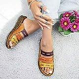Wygwlg Sandalias de Plataforma cómodas para Mujer Sandalias de tacón de cuña de Cuero de PU Bloque de Color de Verano Talla Grande Zapatillas de Playa para corrección de pie de Dedo Gordo,E-39