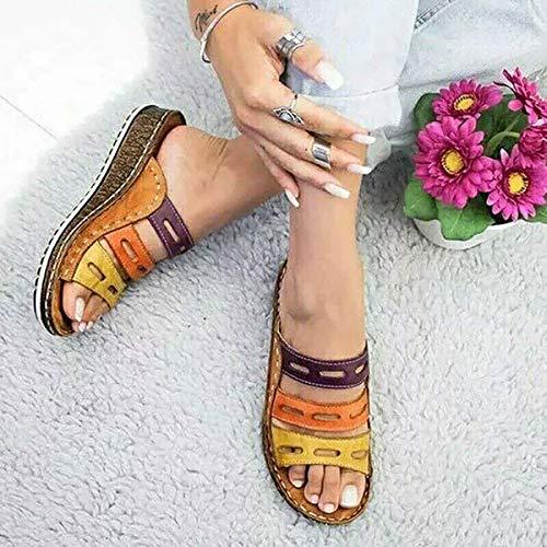 Wygwlg Sandalias de Plataforma cómodas para Mujer Sandalias de tacón de cuña de Cuero de PU Bloque de Color de Verano Talla Grande Zapatillas de Playa para corrección de pie de Dedo Gordo,E-38