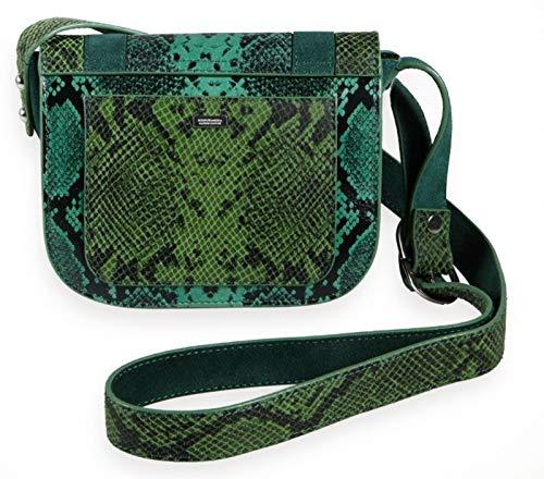 Scotch & Soda Maison Damen Suede & Faux Snake Cross Body Bag Dessoustasche, Grün (Jade 1154), One Size (Herstellergröße: OS)
