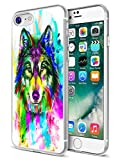 For iPhone 7 Case Wolf,For iPhone 8 Case Wolf,Ecute Soft Slim Flexible Rubber Side + Style Hard Back Case Compatible with iPhone 8(2016) and iPhone 7(2017) - Design of Colorful Wolf