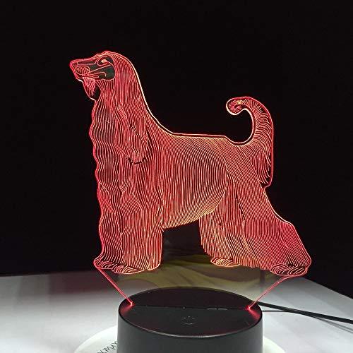 3D Night Light,Afghan Hound Schönste Hund 3D Led Lampe 7 Farben Usb Touch Nachtlichter Startseite Wohnzimmer Beleuchtung Dekor Kinder Geschenk