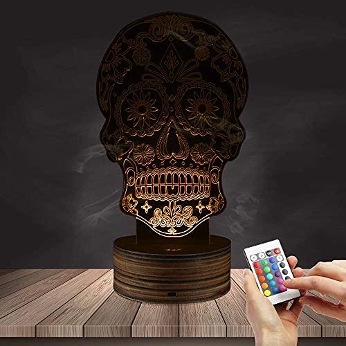 Showyow - Lámpara óptica 3D LED con diseño de calavera y calavera con mando a distancia de madera maciza, 16 colores