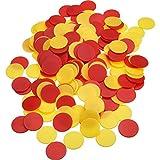 200 Pezzi Gettone di Plastica Colorati Contatori Gettone Tombola Marcatori con Borsa di Stoccaggio per Matematica o Giochi (Giallo Rosso)