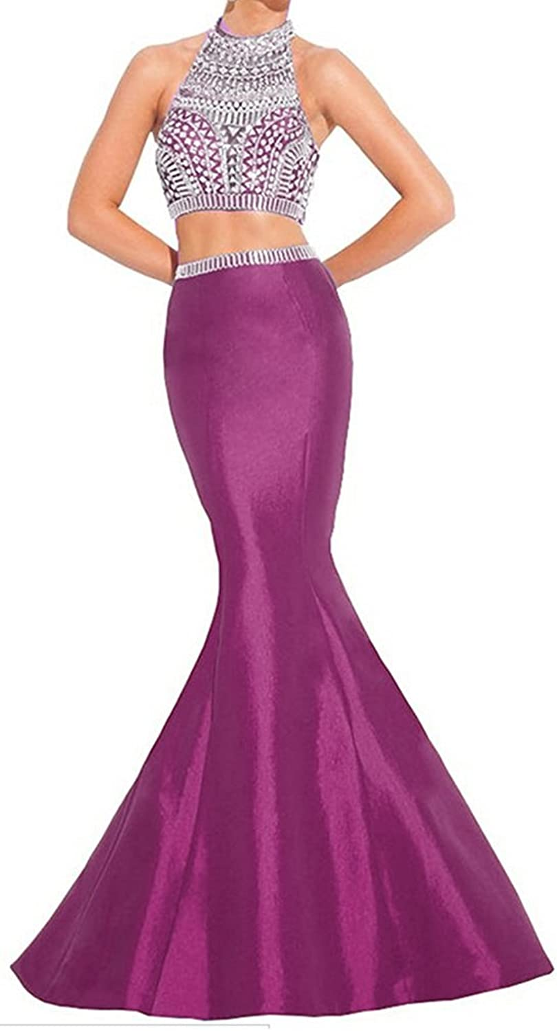 Ellenhouse Women's Mermaid Two Pieces Prom Evening Dress Beaded Party Gown EL122