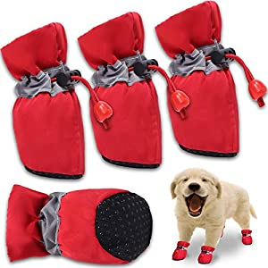 FURNOSE Dog Boots Non Slip Dog Shoes for Large Medium Small Dogs with Reflective Straps, Dog Paw Protectors for Hot Pavement/Winter/Snow 4PCS (Red/Size 6: 2.36″x1.96″(LW))
