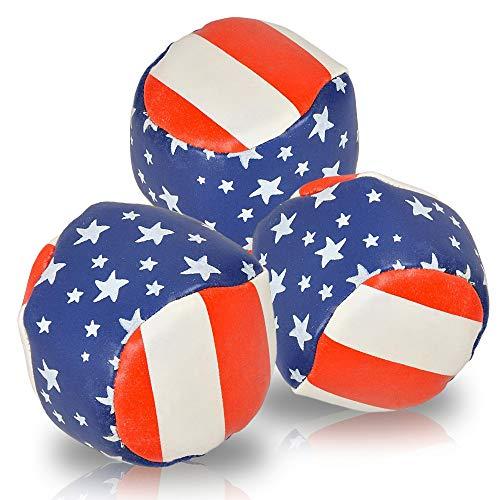 ArtCreativity Patriotic Juggling Balls Set for Beginners, Set of 3, American Flag Juggle Ball Kit,...