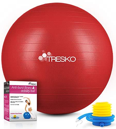 TRESKO Gymnastikball mit GRATIS Übungsposter inkl. Luftpumpe - Yogaball BPA-Frei | Sitzball Büro | Anti-Burst | 300 kg