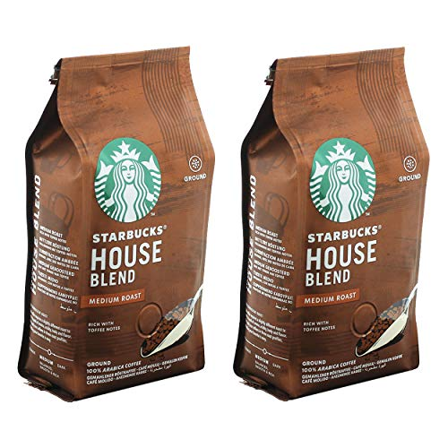 Starbucks House Blend Kaffee, 2er Set, Medium Roast, Röstkaffee, Vollmundig mit Toffee-Noten, Gemahlen, 2 x 200 g