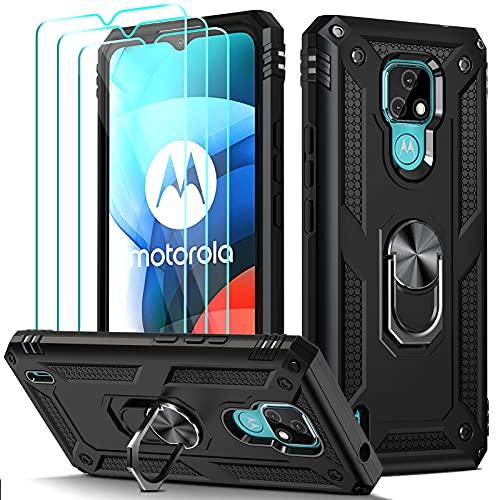 ivoler für Motorola Moto E7 Hülle mit [Panzerglas Schutzfolie *3], Militärischer Schutz Stoßfest Handyhülle Anti-Kratzer Schutzhülle Hülle Cover mit 360 Grad Ring Halter, Schwarz