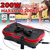 HTNBO Vibration Plate Exercise Machine,Whole Body Vibration Plate,Fit Massage Vibration Platform Machine w/Remote&Bands for Body Workout Weight Loss&Toning.Max User Weight 330lbs (Red)