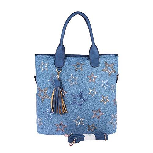 OBC ital-Design XXL Damen Stern Shopper Tasche Canvas Schultertasche sportliche Stofftasche Crossover Umhängetasche Handtasche Strass Blogger Vintage (Blau 38x37x13)