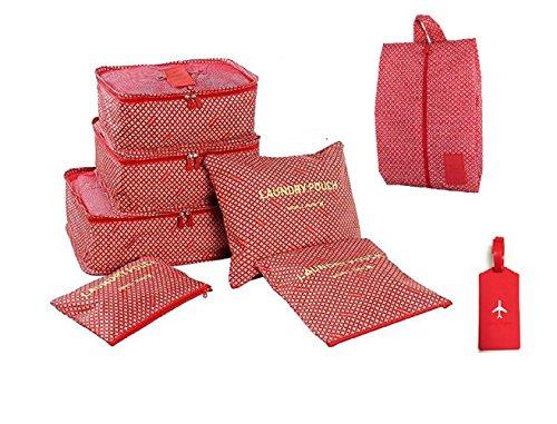 NOVAGO Organizzatori per valigie, 7 pezzi, per organizzare i vestiti, biancheria intima, scarpe, vestiti sporchi + 1 Etichetta per valigie offerta (Rosso Stella)