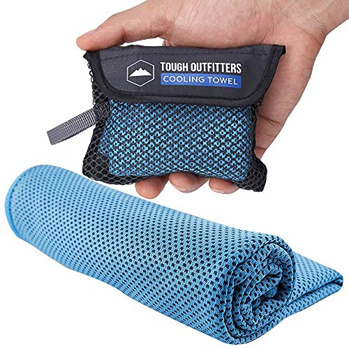 Cooling Towels - Sweat Rag & Towel for Gym, Workout, Running, Golf, Yoga - Head & Neck Cooling Wraps for Hot Weather - Neck Cooler for Quick Cool Down - Skin Cancer Foundation Recommended - Light Blue