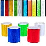 Cinta Reflectante - WENTS 5 Pcs Pegatinas de advertencia de seguridad - cinta de reflectora y autoadhesiva, alta visibilidad altamente reflectante, fuerte adherencia e impermeable, 5cm x 3m, 5 colores