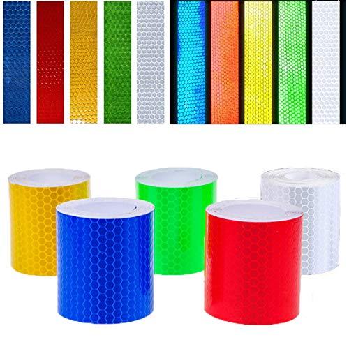 Reflektorband Klebeband - WENTS 5 Stück 5cm x 3m Sicherheit Warnklebeband, Starke Haftung und wasserdicht, stark reflektierende hohe Sichtbarkeit, 5 Farben