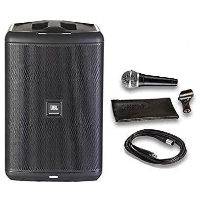 JBL EON ONE Compact All-in-1 Rechargeable Personal PA System with Bluetooth Bundle with Shure PGA48 Microphone, 15ft XLR Audio Cable (5 Items) by JBL Professional