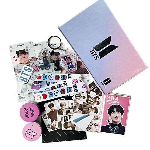 BTS Jungkook Fans Gift Set for Army Daughter Bangtan Boys Box Include Stickers, Lomo Cards, Lanyard and Keychain