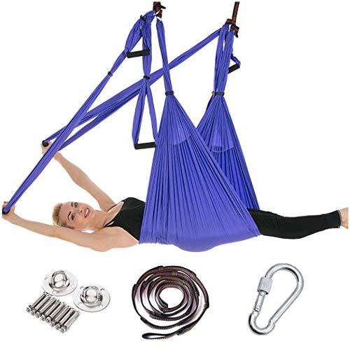 Hamac Aérien Yoga De Gravité Inverse Gravity Fitness Hamac 6 Pas De Poignée Hong Kong Style Avec Ceinture Prolongée Et Plateau Suspendu Double Combat ( Color : Elegant purple full set )