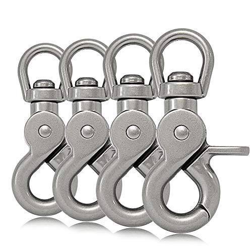 Ganzoo Scheren-Karabiner Haken mit Dreh-Gelenk/Dreh-Kopf für Hunde-Leine/Hals-Band 4er Set, legierter Stahl 61 mm Länge, auch für Paracord 550 / Schlüssel-Anhänger, Farbe: Silber matt
