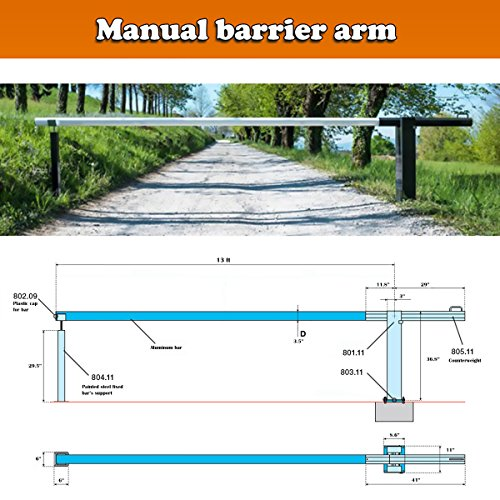 Buy Manual Barrier Gate Complete kit 13ft Aluminum Arm-Counter Weight Receiver Stand