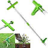 Xiakolaka Weed Puller Stand-Up Weeder Root Removal Tool with 3 Stainless Steel Claws for Dandelion, 39' Long Reinforced...