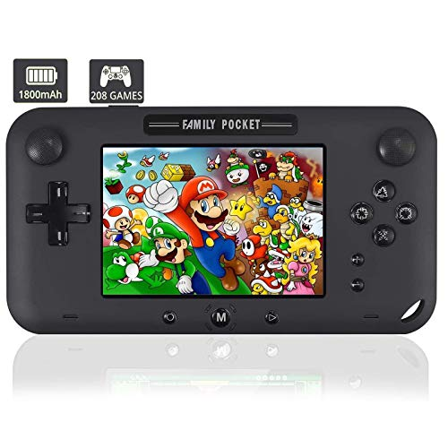 """YunJey Handheld Game Console, Portable Game Player Built-in 208 HD Classic Games 4"""" LCD Retro Gaming System, Support TV/AV 16 Bit Rechargeable Handheld Game Console/Support TF card (not included)"""