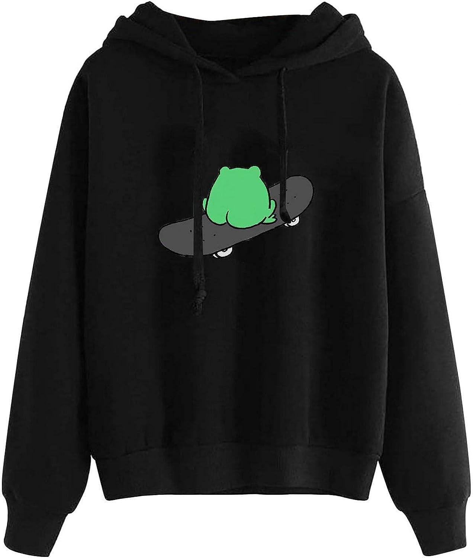 UOCUFY Sweatshirt for Women, Womens Comfy Hoodie Cute Sweatshirts Skateboarding Frog Casual Long Sleeve Pullover Tops