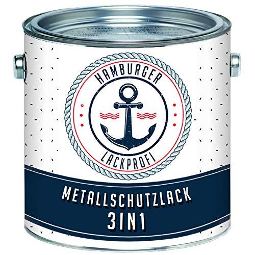 Metallschutzlack 3in1 SEIDENMATT Verkehrsweiß RAL 9016 Weiß Metallschutzfarbe 3-in-1 Grundierung, Rostschutz und Deckanstrich in Einem Metalllack Metallfarbe // Hamburger Lack-Profi (1 L)