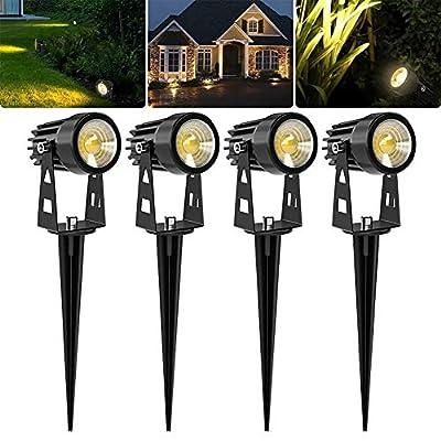 Svater LED Landscape Lights,12V Low Voltage Outdoor Spotlights with Metal Ground Stake,2700K Warm White.300Lumens Flag Light for Garden, Backyard,Lawn - 4 Pack