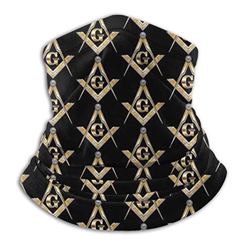 Miaowow Masonic Square Neck Warmer Gaiter For Men Women Headband Face Mask Bandana Head Wrap Scarf Headwear Winter Balaclava For Ski Running Motorcycle, Black, One Size