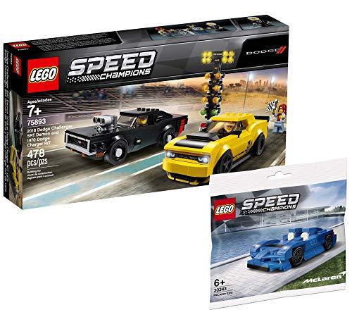 Lego Speed Champions Set - 2018 Dodge Challenger SRT Demon und 1970 Dodge Charger R/T 75893 + McLaren Elva 30343 (Polybag)