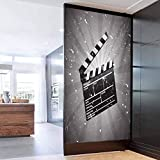 Privacy Window Film, Movie Theater Clapper Board on Retro Backdrop with Grunge Effect, Privacy Glass Film for Home &Office 17.7