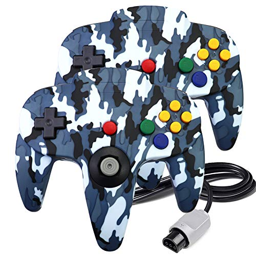 2 Packs N64 Controller, King Smart Classic Wired N64 Controllers with Upgraded Joystick for Original Nintendo 64 Console (Blue Camouflage)