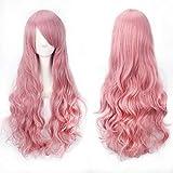 Pelucas mujer cosplay anime disfraz largo ondulado con flequillo, YEESHEDO peluca larga y rizada pelo natural sintético completo pink para niñas 28 pulgadas / 70 cm (Rosa)