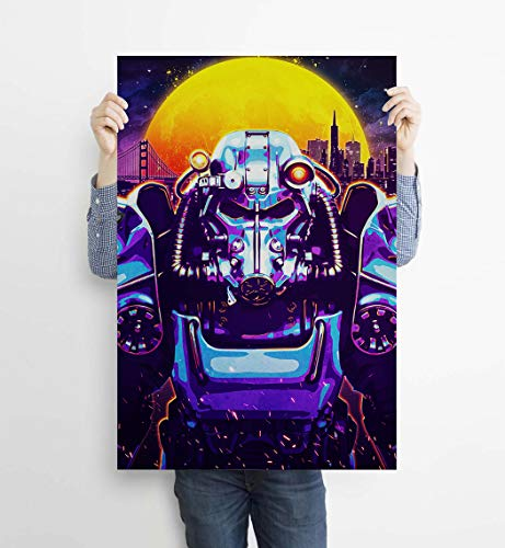 Fallout: New Vegas Cyberpunk Robot Futuristic Apocalypse Video Game Poster Print,Modern home decoration wall art decorative painting poster print (blue,16x24 inch(Framed))