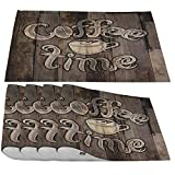 Moslion Coffee Time Lettering Placemats,Romb Pattern Phrase with A Cup On A Wooden Grunge Place Mats for Dining Table/Kitchen Table,Waterproof Heat-Resistant Washable Dinner Table Mats,Set of 4