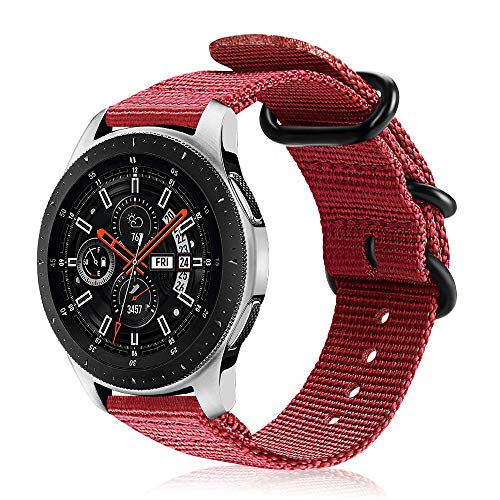 FINTIE Cinturino Compatibile con Galaxy Watch 46mm/Gear S3 Classic/Frontier/Huawei Watch GT Sport, 22 mm Morbido Tessuto di Nylon Sports Watch Band Regolabile con Fibbia Acciaio Inox, Rosso