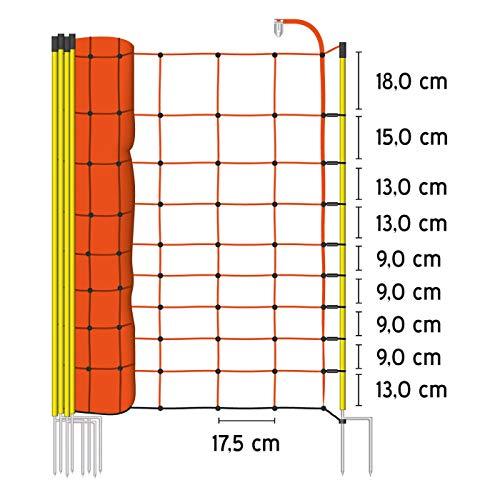 VOSS.farming 50m Elektrozaun-Netz, 108cm, 2 Spitzen, gelbe Pfähle Schafzaun Elektrozaun Weidezaun - 3