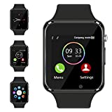 Smart Watch Compatible Samsung Android iPhone iOS for Men Women Kids, Wzpiss Bluetooth Smartwatch Touchscreen Wrist Watch Fitness Tracker with Camera Pedometer SIM SD Card Slot (Black)