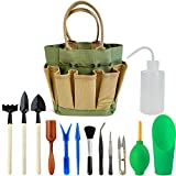 Good GAIN Garden Succulent Kit with Organizer Bag,Indoor Mini Hand Gardening Tool Set, 13 Pieces Tools for Bonsai Planter Miniature Fairy Planting Care