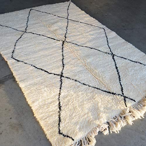 Marrakesch Beni ourain Berber Alfombra Orient – Alfombra 100 % tejida a mano natural Tribal lana – Forma de diamante – 234 x 156