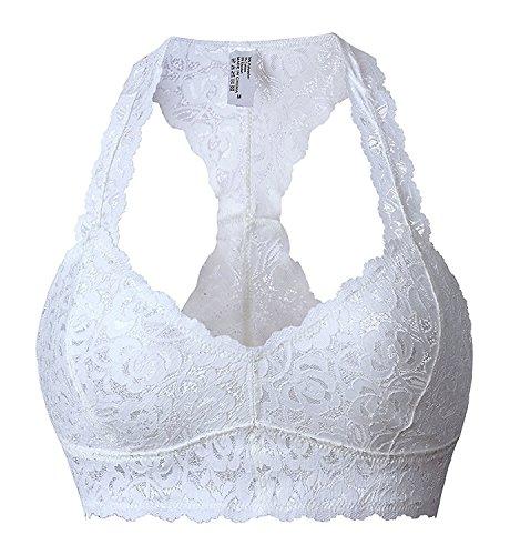 Camellias Damen Sexy Spitze Bralette Comfort V-neck Bra Crop Top Push up Atmungsaktiv BH Weiß,UK-SZ5509-White-S