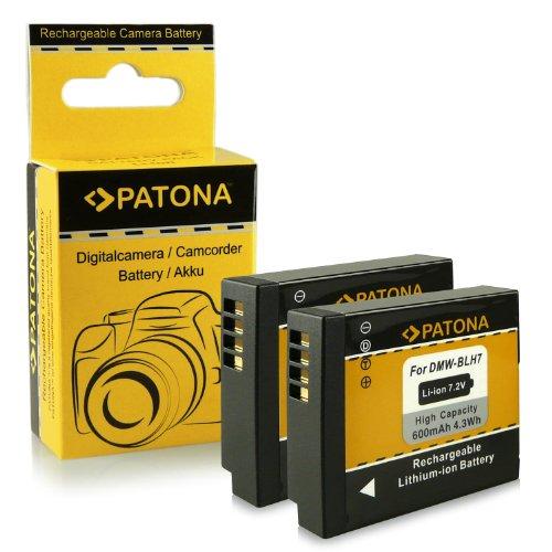 PATONA 2X Batterie DMW-BLH7 / BLH7E Compatible avec Panasonic Lumix DMC-GM1 DMC-GM5 DMC-GF7 DC-GX800 DMW-LX15